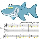 Aquarium Carnival of the Animals Beginner Piano Sheet Music with Colored Notes