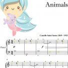 Aquarium Carnival of the Animals Easy Piano Sheet Music with Colored Notes