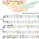 Aria Goldberg Variations Easiest Piano Sheet Music with Colored Notes