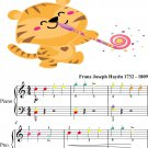 Surprise Symphony Easy Elementary Piano Sheet Music with Colored Notes