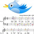 The Bluebird Easy Piano Sheet Music with Colored Notes