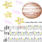 Jupiter the Bringer of Jollity Easy Piano Sheet Music with Colored Notes