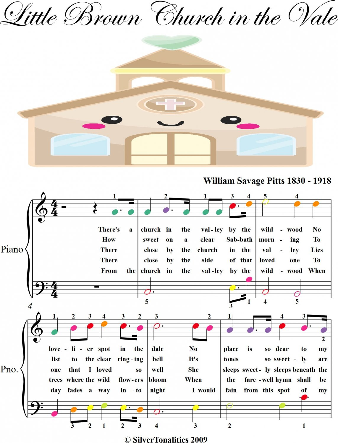 Little Brown Church in the Vale Easy Piano Sheet Music with Colored Notes