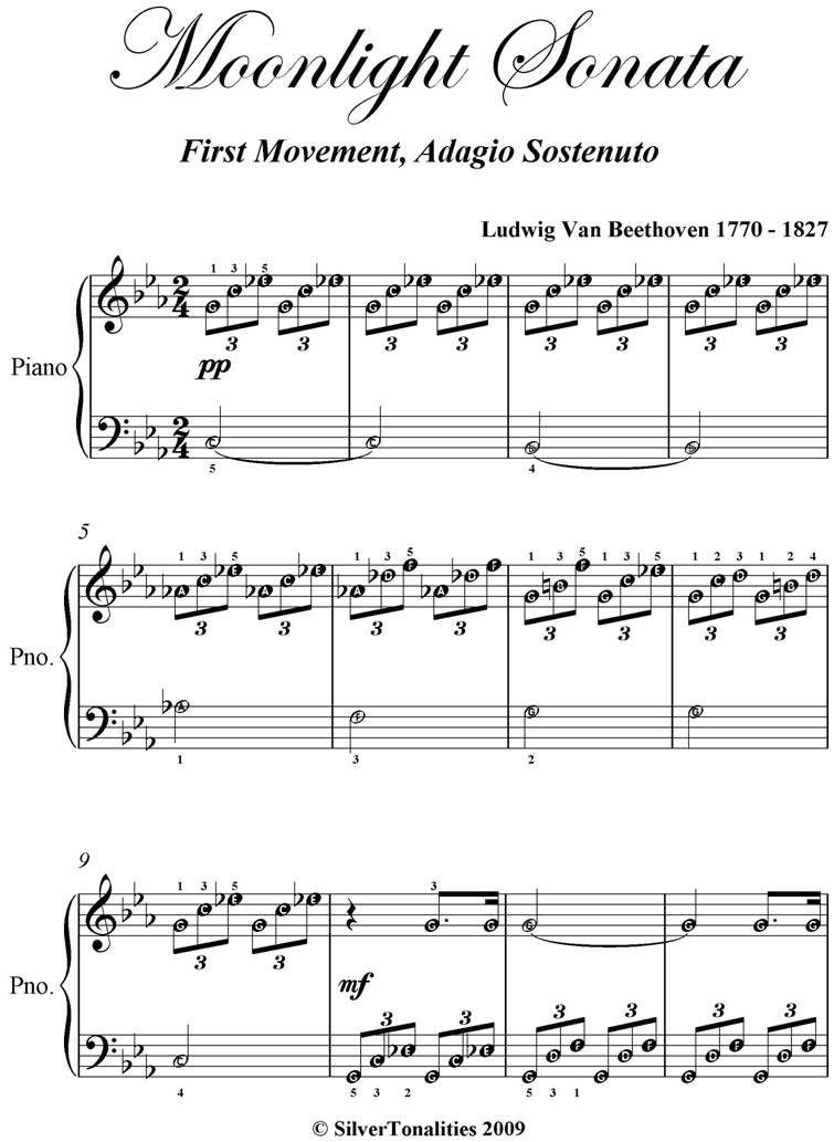 Moonlight Sonata First Movement Easy Elementary Piano Sheet Music