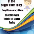 The Dance of the Sugar Plum Fairy for Easy/Elementary Piano Sheet Music with Colored Notes