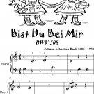 Bist Du Bei Mir Bwv 508 Beginner Piano Sheet Music Tadpole Edition