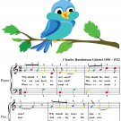 His Eye Is On the Sparrow Easy Piano Sheet Music with Colored Notes