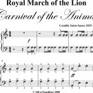 Royal March of the Lion Carnival of the Animals Easy Piano Sheet Music