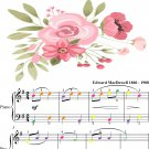To a Wild Rose Easy Piano Sheet Music with Colored Notes