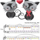 Comic Duet for Two Cats Easy Piano Sheet Music With Colored Notes