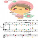 Eine Kleine Nachtmusik Easy Piano Sheet Music with Colored Notes