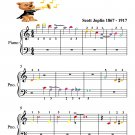 The Entertainer Beginner Piano Sheet Music with Colored Notes