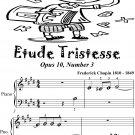 Etude Tristesse Opus 10 Number 3 Beginner Piano Sheet Music
