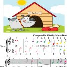Doggy In the Yard Easy Piano Sheet Music with Colored Notes