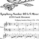 Symphony Number 40 in G Minor K550 Fourth Movement Beginner Piano Sheet Music