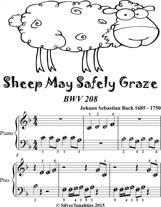 Sheep May Safely Graze Bwv 208 Beginner Piano Sheet Music