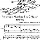 Invention Number 1 in C Major BWV 772 Beginner Piano Sheet Music