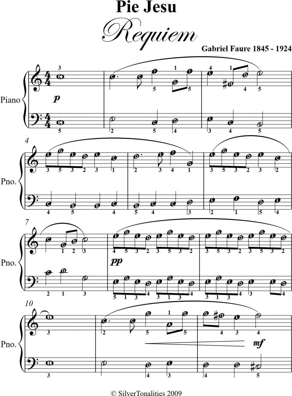 Pie Jesu Requiem Easy Piano Sheet Music