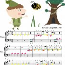 Elfin Dance Opus 12 Number 4 Beginner Piano Sheet Music with Colored Notes