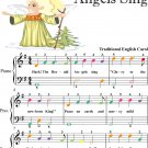 Hark the Herald Angels Sing Easiest Piano Sheet Music with Colored Notes