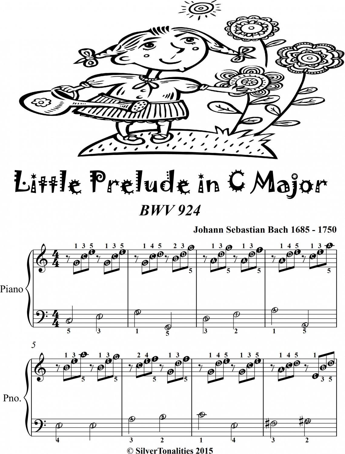 Little Prelude In C Major Bwv 924 Easiest Piano Sheet Music