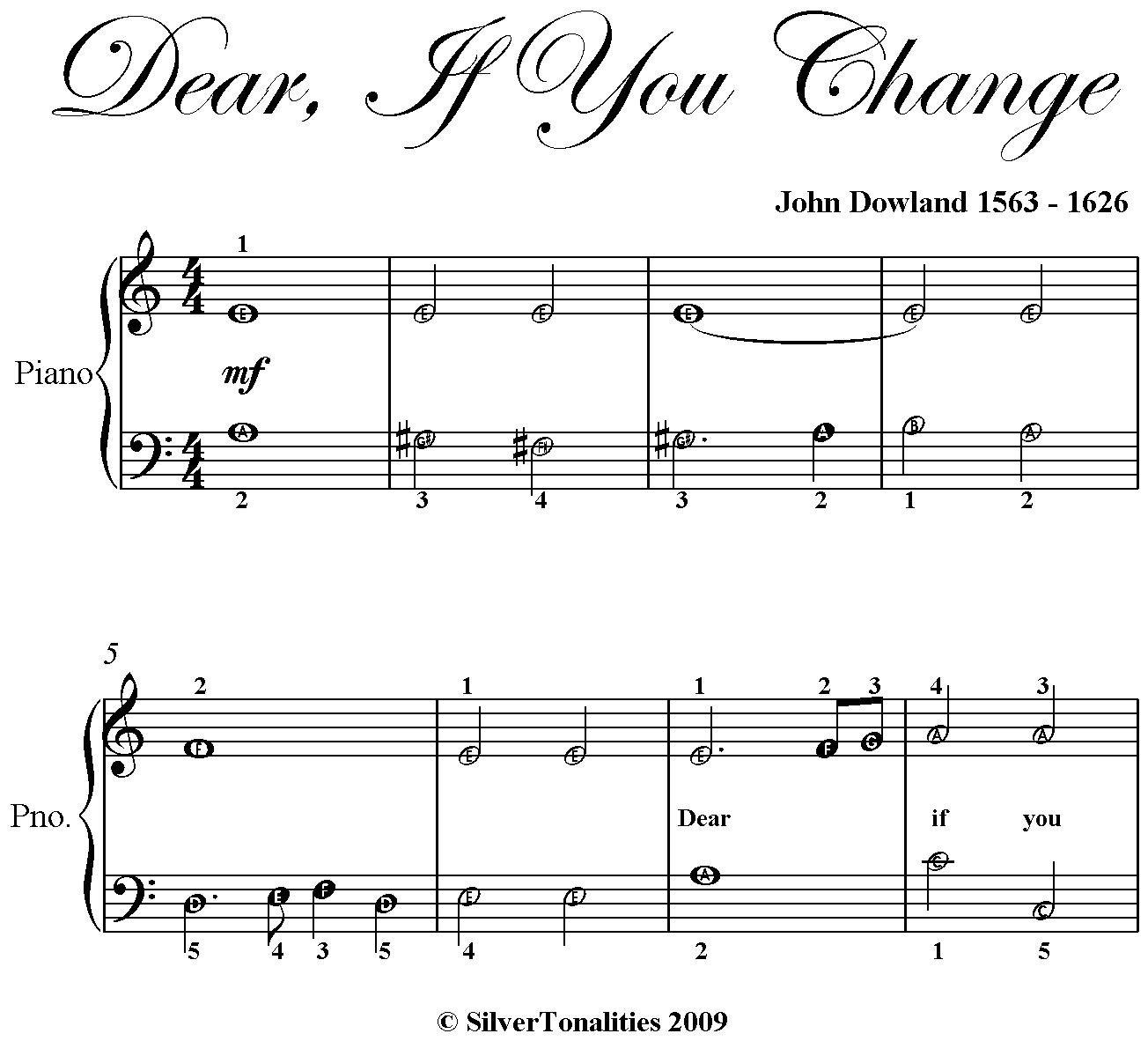 Dear If You Change Easy Piano Sheet Music