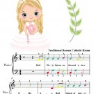 Hail Holy Queen Enthroned Above Easy Piano Sheet Music with Colored Notes