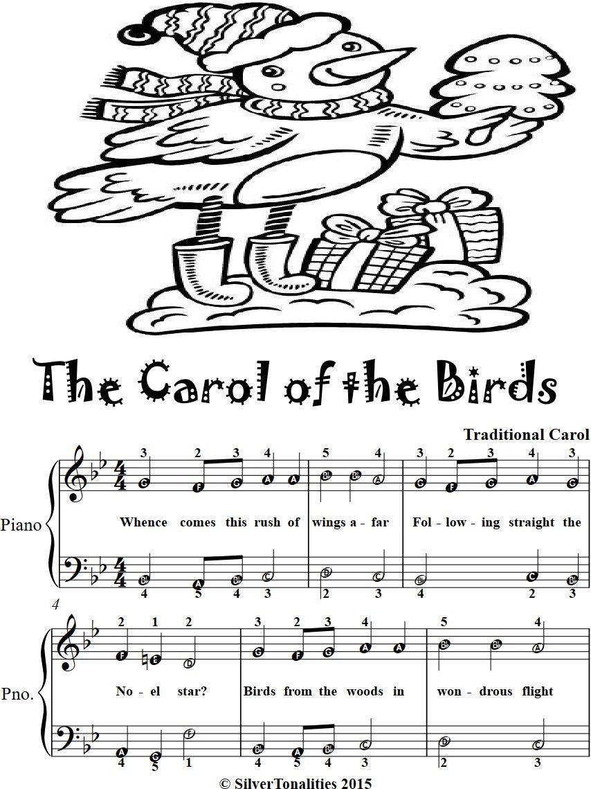 Carol of the Birds Easy Piano Sheet Music