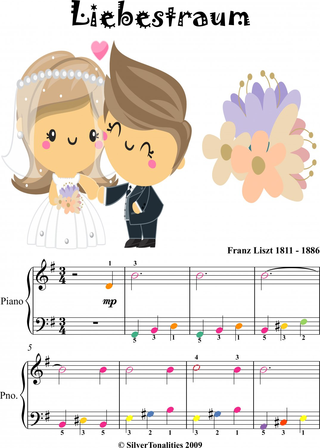 Liebestraum Elementary Piano Sheet Music with Colored Notes