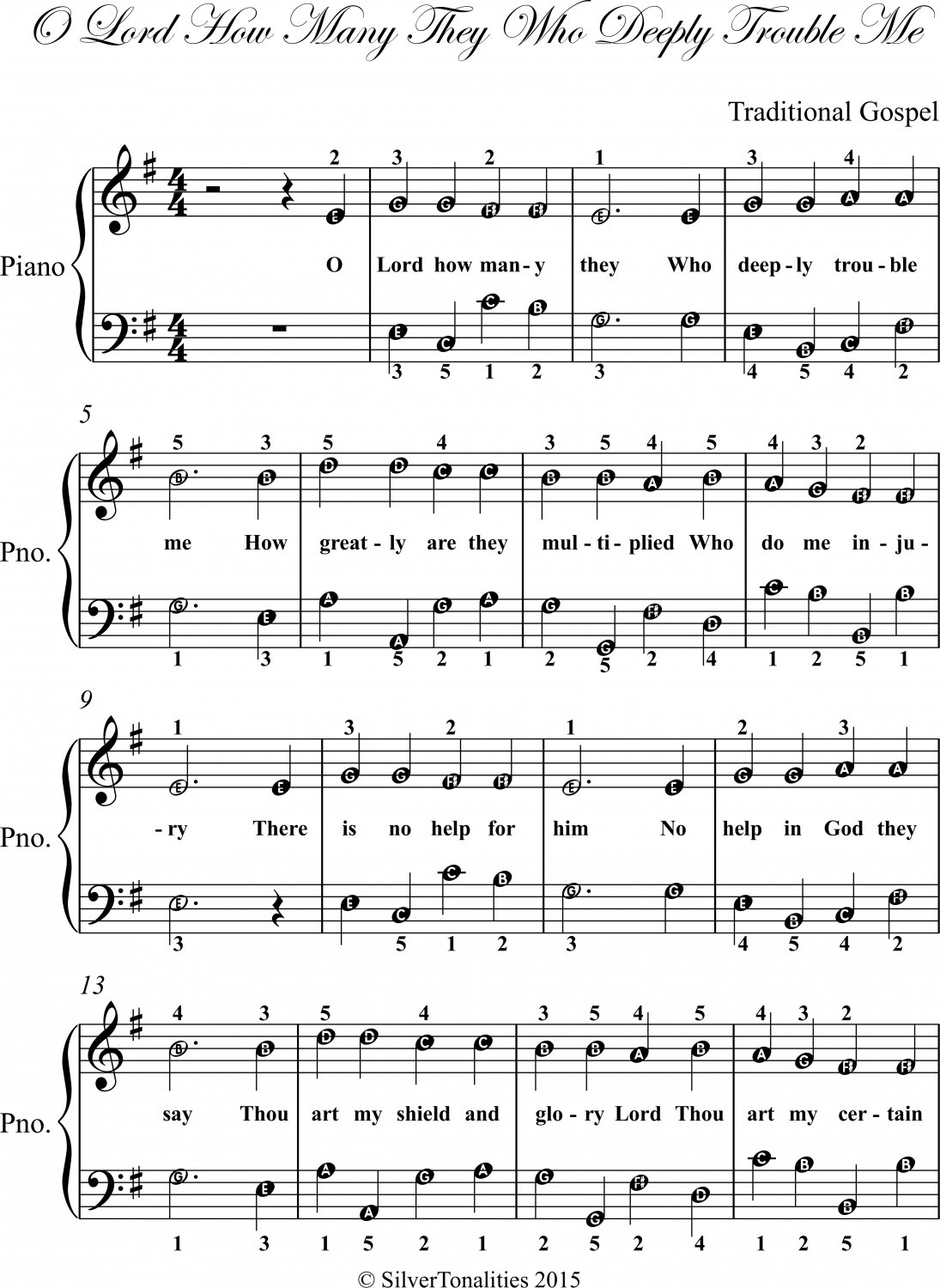 O Lord How Many They Who Deeply Trouble Me Easy Piano Sheet Music