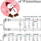 Huron Carol Twas In the Moon of Wintertime Easy Piano Sheet Music with Colored Notehead