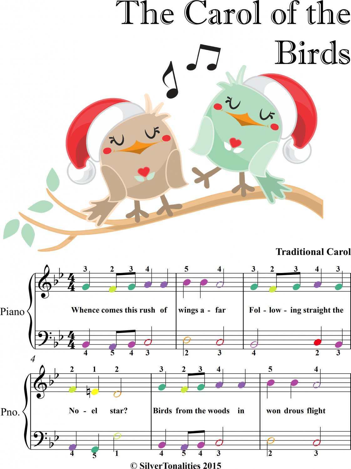 Carol of the Birds Easy Piano Sheet Music with Colored Notes