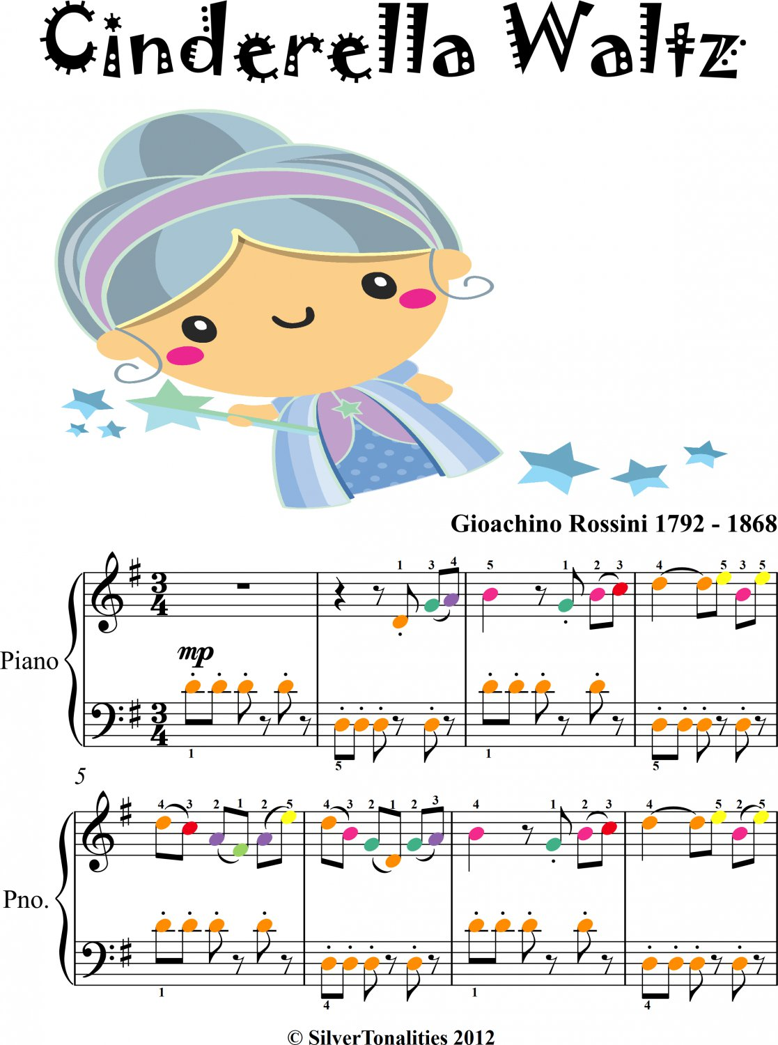 Cinderella Waltz Easy Piano Sheet Music with Colored Notes