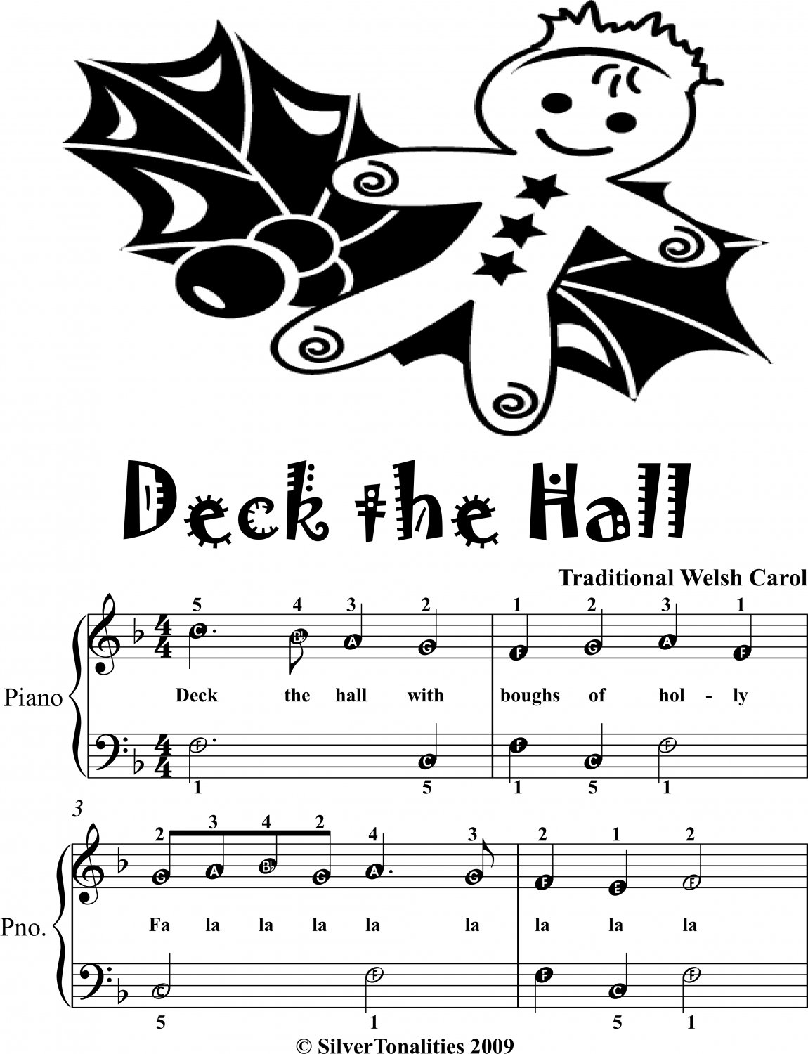 Deck the Hall Easiest Piano Sheet Music Tadpole Edition