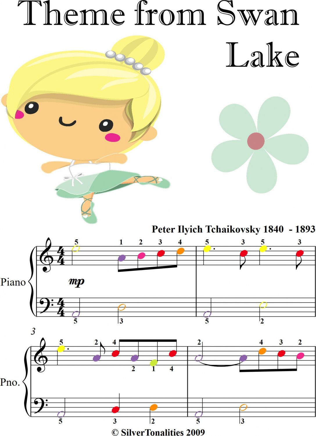 Theme from Swan Lake Easiest Piano Sheet Music with Colored Notation