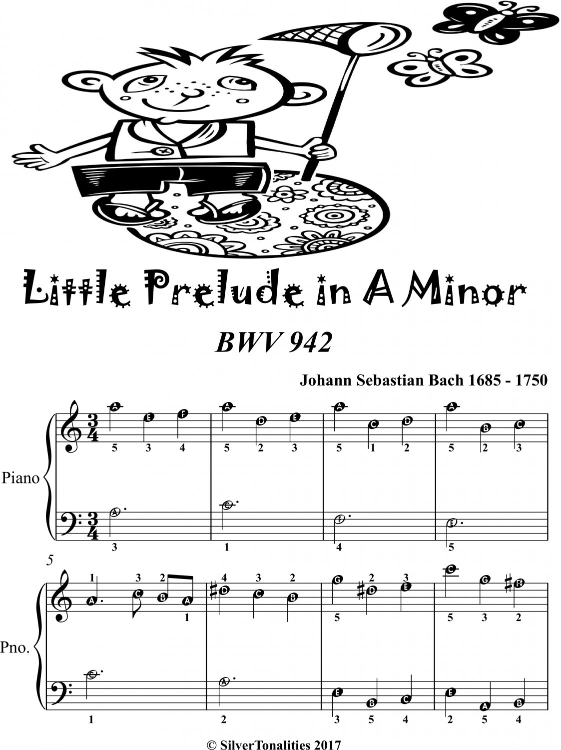Little Prelude in A Minor Bwv 942 Easiest Piano Sheet Music