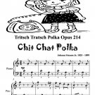 Tritsch Tratsch Polka Opus 214 Chit Chat Easy Piano Sheet Music