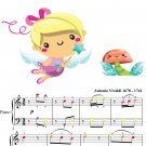 Summer Four Seasons First Movement Easy Piano Sheet Music with Colored Notes