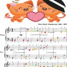 Romeo and Juliet Easy Piano Sheet Music with Colored Notes