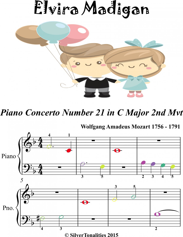Elvira Madigan Piano Concerto No 21 2nd Mvt Beginner Piano Sheet Music with Colored Notes