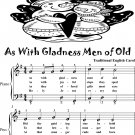 As With Gladness Men of Old Easy Piano Sheet Music