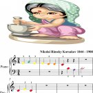 Song of India Beginner Piano Sheet Music with Colored Notes