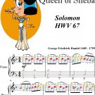Arrival of the Queen of Sheba Easiest Piano Sheet Music with Colored Notes