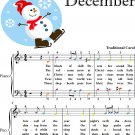 Blast of Chill December Easy Piano Sheet Music with Colored Notes