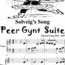 Solveig's Song Peer Gynt Suite Beginner Piano Sheet Music