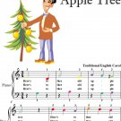 Here's To Thee Old Christmas Tree Old Apple Tree Easy Piano Sheet Music with Colored Notes