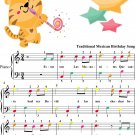 Las Mananitas Easy Piano Sheet Music with Colored Notes