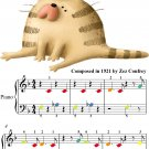 Kitten on the Keys Beginner Piano Sheet Music with Colored Notes