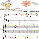 Spring Four Seasons Ist Mvt Easiest Piano Sheet Music with Colored Notes