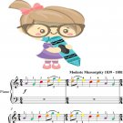 Promenade Pictures at an Exhibition Easy Piano Sheet Music with Colored Notes